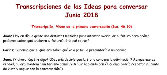 Transcripciones de las Ideas para conversar Junio 2018