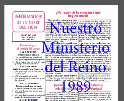 Nuestro Ministerio del Reino 1989