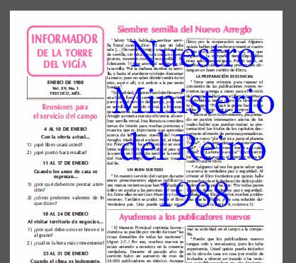 Nuestro Ministerio del Reino 1988