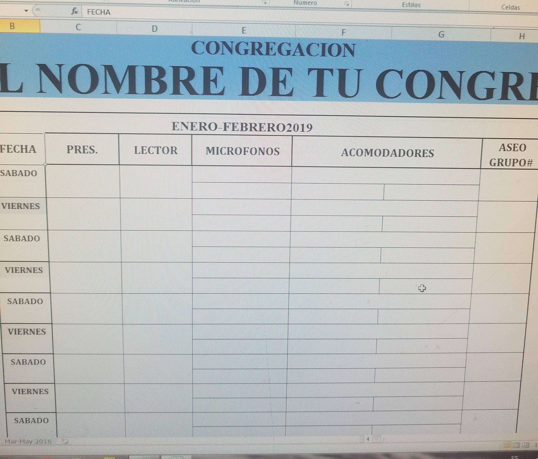 PROGRAMA DE ASIGNACIONES PARA LAS REUNIONES