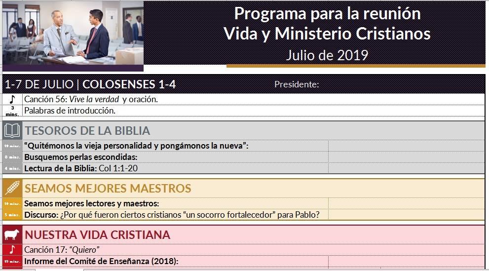 Programa Reunión Vida y Ministerio Cristianos en Excel, fácil y práctico de llenar