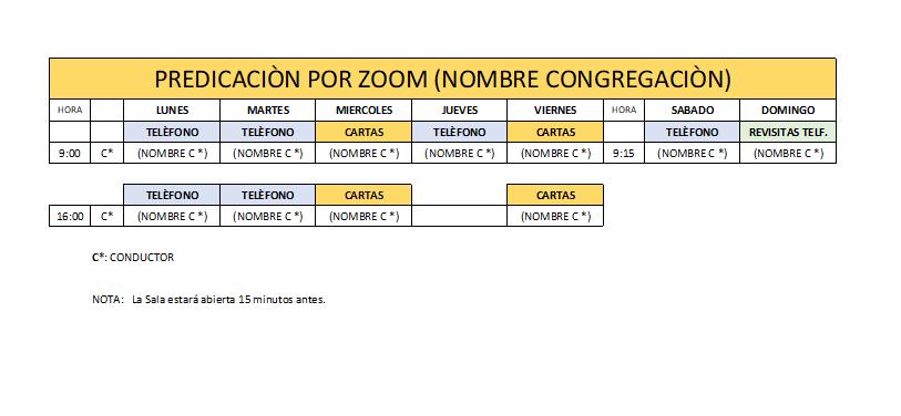 PROGRAMA DE PREDICACION PARA ZOOM EXCEL